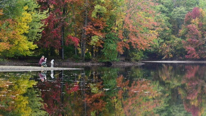Matt Meyers, of Riverdale, takes photos of Stella, his two year old rescue dog, at Scarlet Oak Pond at Ramapo Valley County Reservation on Monday October 23, 2017.
