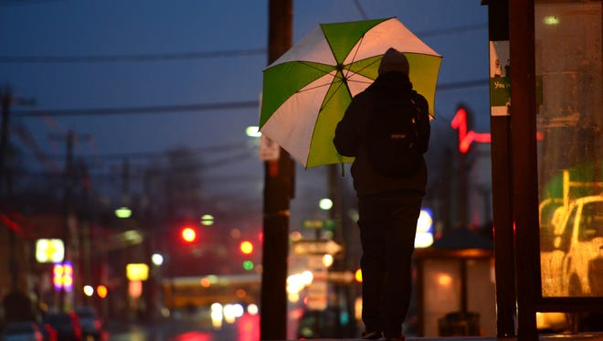 On a recent rainy morning in Bergen County, a little color certainly stood out as people made their way to work.This man used his umbrella to keep dry as he walks to the Kingsland Train Station in Lyndhurst.