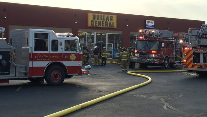 Firefighters respond to a fire at Dollar General on Church Street in Stevens Point on May 7.