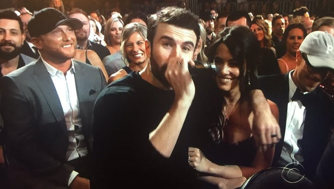 Sam Hunt surprised his fiancé Hannah Lee Fowler during his performance of 'Body Like a Backroad' at the ACM Awards