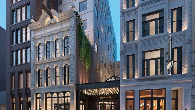 A rendering of the Dream Nashville hotel in Printers Alley.