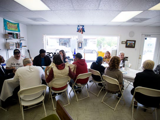 Community members share lunch and company Thursday