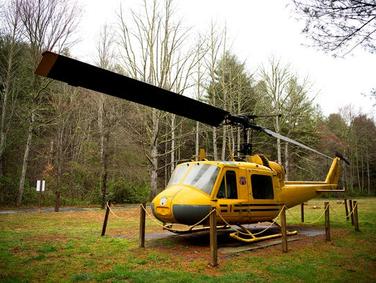 On display at Holmes is a N.C. Forest Service helicopter