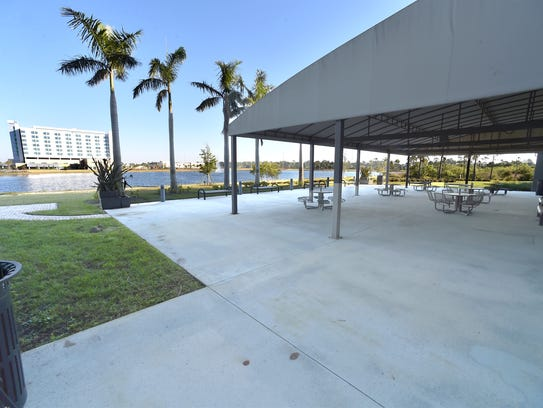 The patio of the Florida Center for Bio-Sciences, one
