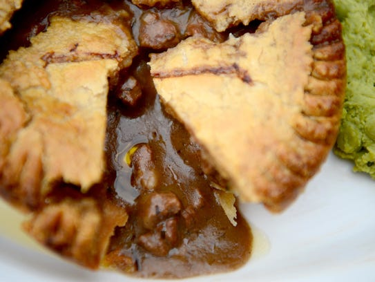 Beef sirloin and Green Man Porter gravy in pastry crust