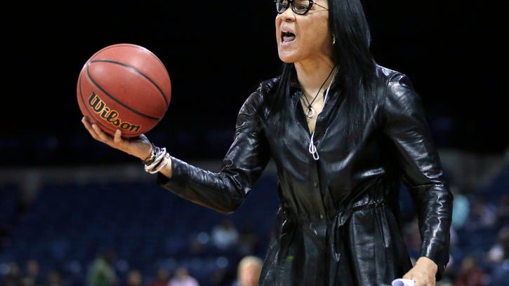 FILE - In this March 27, 2017, file photo, South Carolina head coach Dawn Staley protest a foul during the second half of a regional final against Florida State in the NCAA college basketball tournament in Stockton, Calif. Staley and the Gamecocks have been preparing to play No. 1 UConn while the coach dealt with comments by Missouri athletic director Jim Sterk's comments that she fostered a hostile atmosphere during last Sunday's game against the Tigers. (AP Photo/Rich Pedroncelli, File)