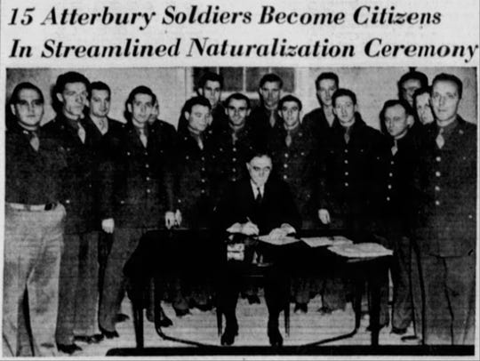 Soldiers at Camp Atterbury were sworn in as citizens