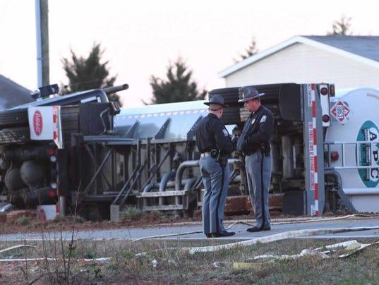 Tanker overturned in Belton