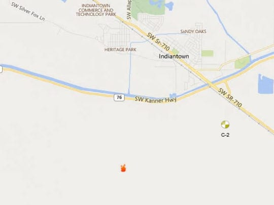 A map shows the general location of a fire in western Martin County that ignited Wednesday, May 17, 2017, south of Indiantown.