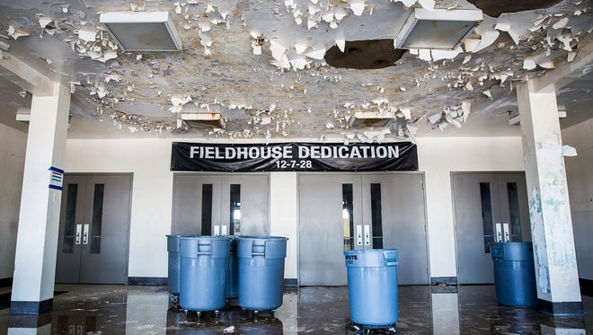 Rain continues to seep through the roof of the Muncie Fieldhouse when inclement weather moves through Delaware County. The Fieldhouse has been closed to the public since November 5, 2017 when an EF1 tornado swept through downtown, damaging the structure.