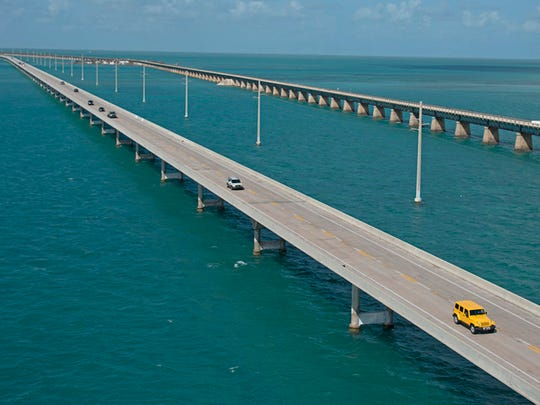 Traffic rolls on the Florida Keys Overseas Highway's