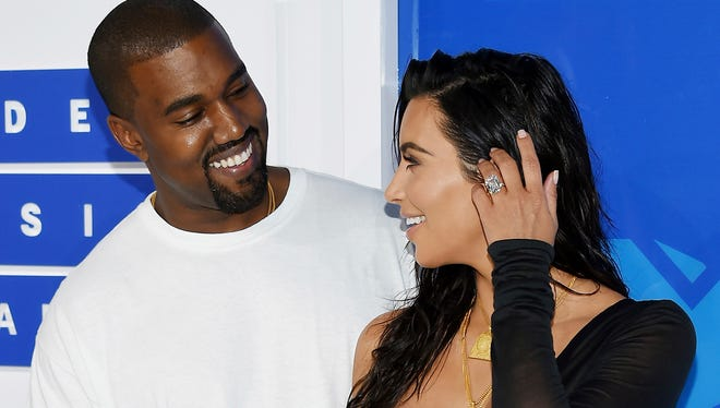 Kanye West and Kim Kardashian at the MTV Video Music Awards in New York on Aug. 29, 2016.