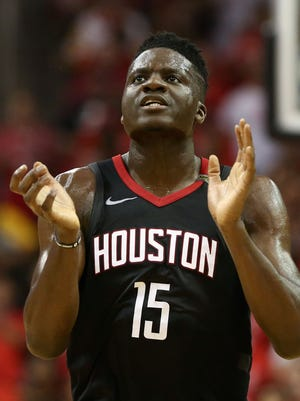 Houston Rockets center Clint Capela reacts after a score against the Golden State Warriors.