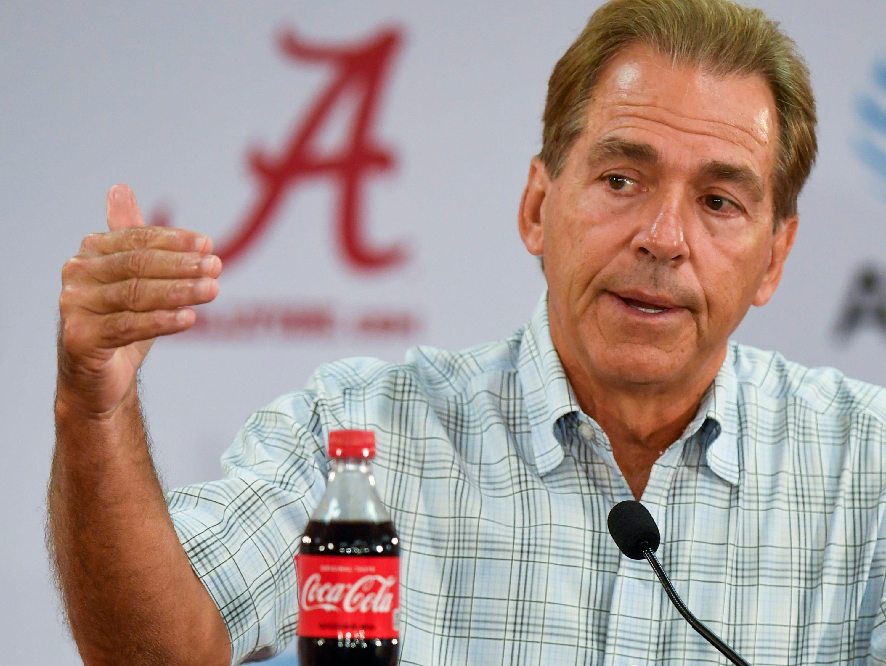 Alabama coach Nick Saban talks with the media before Fan Day on Saturday August 5, 2017 in Tuscaloosa, Ala.