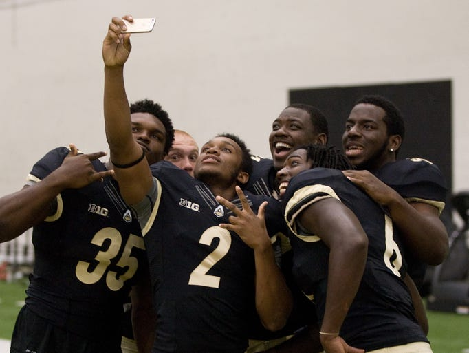 Purdue's 2014 football players participate, Sunday, August, 10, 2014, during Media Day at Mollenkopf field.