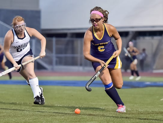 Greencastle's Lauren Cole (right) has four goals and