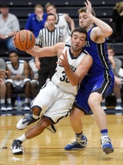 Lebanon Valley sophomore Will Boccanfuso pushes past a Marymount defender in LVC's 76-65 win Wednesday night in Annville.