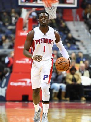 Dec 16, 2016; Washington, DC, USA; Pistons guard Reggie Jackson advances the ball against the Washington Wizards during the first half at Verizon Center.