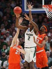 Michigan State forward Jaren Jackson Jr. passes against