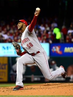Cincinnati Reds starting pitcher Amir Garrett (50) pitches to a St. Louis Cardinals batter during the second inning.
