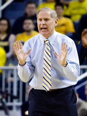 Michigan basketball coach John Beilein works against Penn State on Jan. 2, 2016, at the Crisler Center.