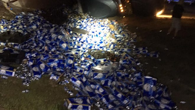 A semi carrying Busch beer spilled its cargo after a wreck on I-10 Westbound at the Holt Exit (exit 45).
