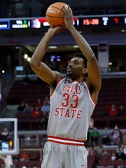 Ohio State's Keita Bates-Diop shoots a three-point basket during the second half of an NCAA college basketball game against Northeastern Sunday, Nov. 19, 2017, in Columbus, Ohio. (AP Photo/Jay LaPrete)