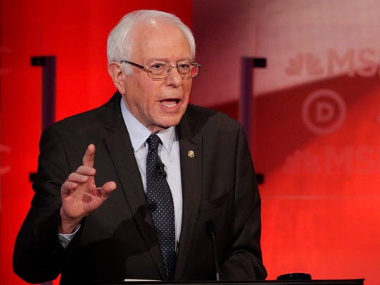 Democratic presidential candidate, Sen. Bernie Sanders, I-Vt,  makes a point during a Democratic presidential primary debate with Democratic presidential candidate, Hillary Clinton hosted by MSNBC at the University of New Hampshire Thursday, Feb. 4, 2016, in Durham, N.H.