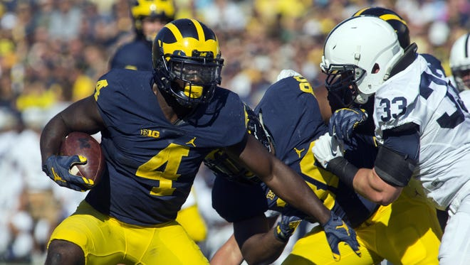 De'Veon Smith has been the starter at running back, but is second in rushing yards (336). Chris Evans (400), Ty Isaac (297) and Karan Higdon (253) also have played well, with all four backs having between 35 and 61 carries.