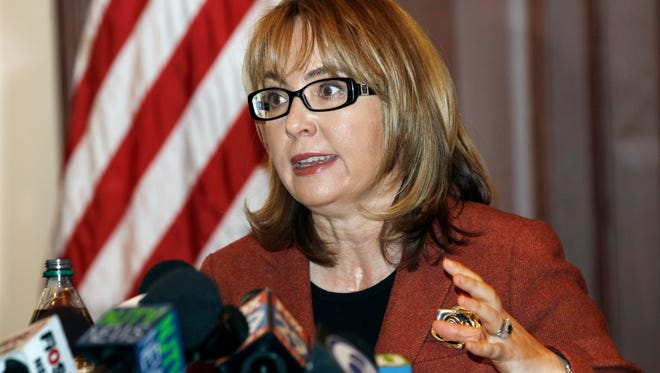 Former U.S. Rep. Gabrielle Giffords, a Democrat from Arizona who co-founded the gun-control group Americans for Responsible Solutions with her husband, addresses a group during a meeting March 18, 2015, in Trenton, N.J.
