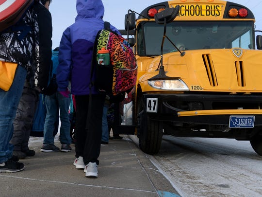 Meadow Lark Elementary School students load onto their bus after school a few years ago. The 2019-2020 school year begins Wednesday and the city of Great Falls and Great Falls Public Schools encourages drivers, parents and students to be safe.