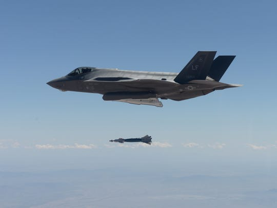 An F-35 Lightning II from the 61st Fighter Squadron