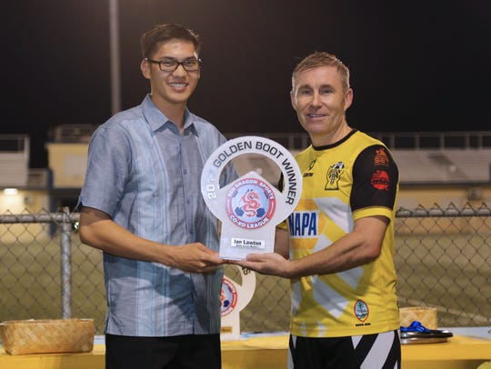 NAPA Rovers Masters' Ian Lawton poses for a photo after