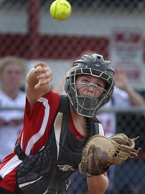 Abby Menting has been a key performer for Kimberly at catcher and on the mound this season.