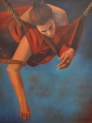 """""""Tangled"""" by Sahar Fakhoury, whose paintings are on exhibit at UNCA during Women's History Month."""