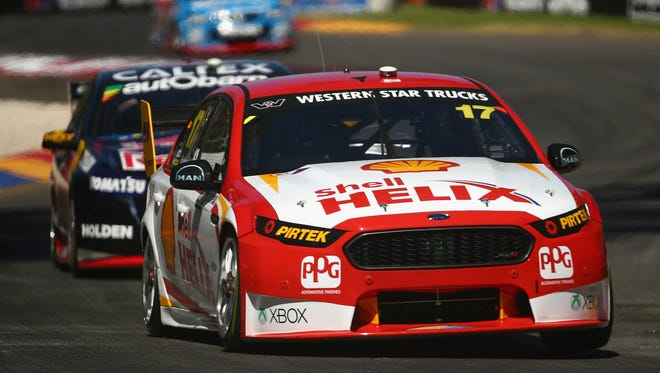 Marcos Ambrose drives the No. 17 DJR Team Penske Ford during Race 3 for the V8 Supercars Clipsal 500 at Adelaide Street Circuit in Adelaide, Australia.