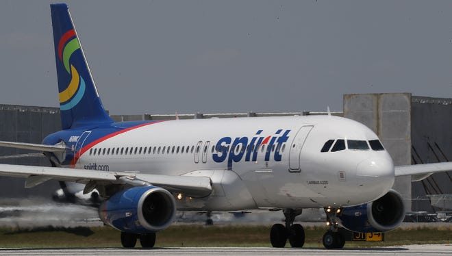 FORT LAUDERDALE, FL - A  Spirit Airlines plane prepares to take off at the Fort Lauderdale-Hollywood International Airport on May 9, 2017 in Fort Lauderdale, Florida. (Photo by Joe Raedle/Getty Images)