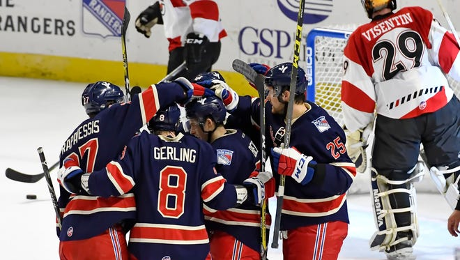 The Swamp Rabbits celebrate a first period goal. The Greenville Swamp rabbits hosted the Cincinnati Cyclones in an ECHL hockey game Sunday, Jan. 15, 2017 at BSWA.