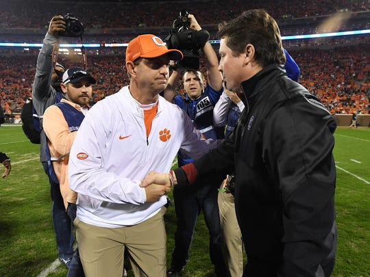 Clemson head coach Dabo Swinney shakes hands with South Carolina head coach Will Muschamp during pre-game on Saturday, November 26, 2016 at Clemson's Memorial Stadium.