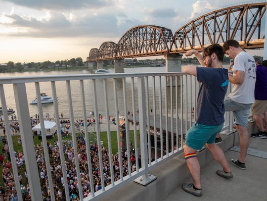 Fans dance on the Big Four bridge above the main stage