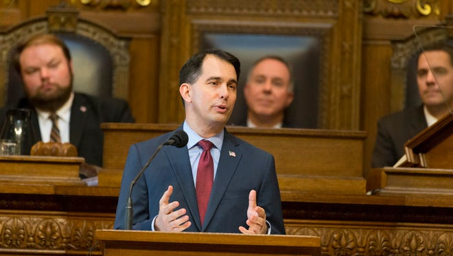 Gov. Scott Walker is shown during his budget address Wednesday, February 8, 2017 at the Capitol in Madison.