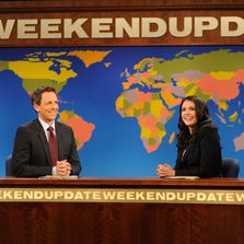 """SATURDAY NIGHT LIVE -- """"Miley Cyrus"""" Episode 1643 -- Pictured: (l-r) Seth Meyers, Cecily Strong -- (Photo by: Dana Edelson/NBC) ORG XMIT: Season:39 [Via MerlinFTP Drop]"""
