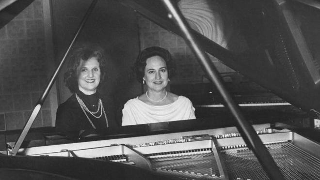 Artemisia Dennis Thevaos (left) and Lydia Porro Milham, photographed in March 1981, became known throughout the Southeast and other states for their twin piano concerts.