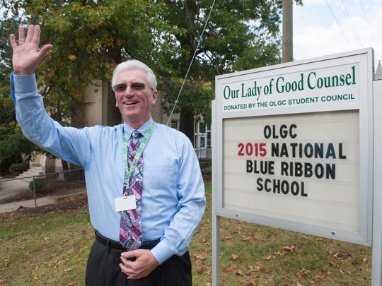 Principal Frank McAneny stands in front of Our Lady of Good Counsel School in Moorestown. This private school was one of only two in South Jersey which recently earned a National Blue Ribbon School distinction from the U.S. Department of Education. Friday, October 9, 2015.