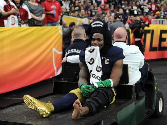 Former IndyStar Mr. Football Jaylon Smith suffered a devastating knee injury in last year's Fiesta Bowl.