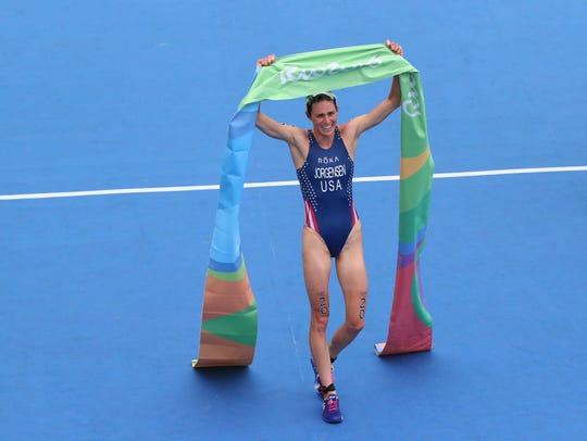 Gwen Jorgensen (USA) wins the women's triathlon during