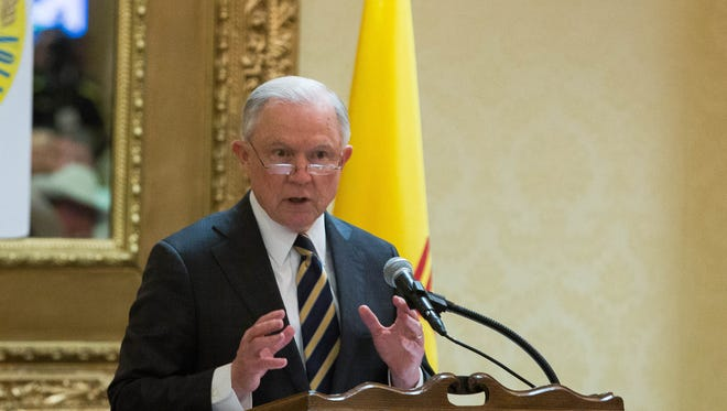 Jeff Sessions, the US Attorney General, speaks to Texas and Southwestern border sheriffs, who were holding their convention in Las Cruces, Wednesday April 11, 2018, at the Ramada Hotel and Conference Center.