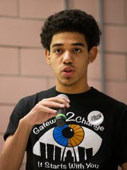Shawn Filer, a junior from Ferguson, MS talks to Rochester-area