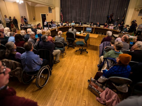 People pack Contois Auditorium for the Burlington City Council meeting on Monday night, Oct. 30, 2017, for public comment before the council voted on their choice to buy Burlington Telecom.