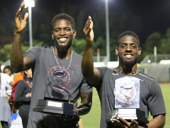 FSU's Corion Knight, the ACC Field MVP, and Andre Ewers,